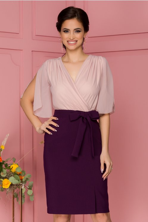 Rochie eleganta midi mov cu bust roz prafuit din voal si maneci decupate