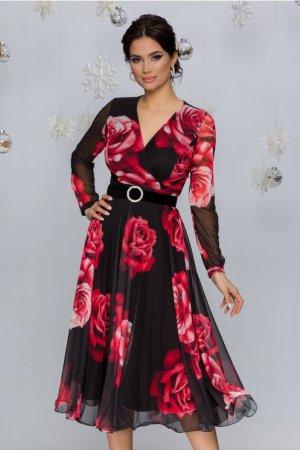 Rochie eleganta midi neagra din tull cu trandafiri rosii si decolteu in V