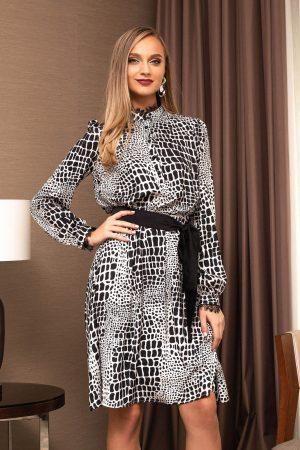 Rochie eleganta midi neagra in clos cu maneci lungi si imprimeuri grafice