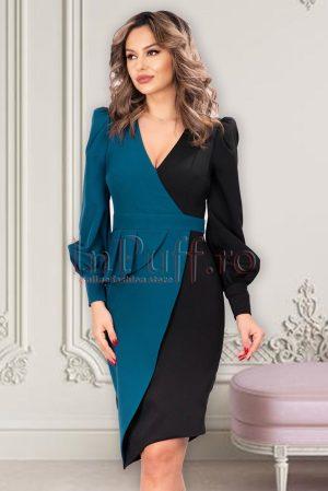 Rochie eleganta midi petrecuta asimetrica in doua culori cu decolteu in V