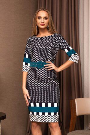 Rochie eleganta midi turcoaz office conica din stofa si imprimeuri grafice