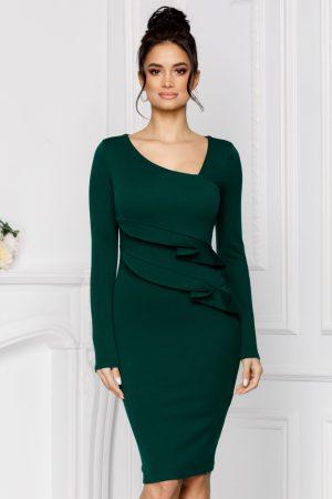 Rochie eleganta midi verde cu pliuri in talie maneci lungi si decolteu