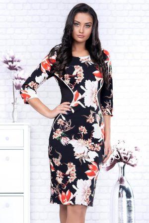 Rochie eleganta neagra midi conica din stofa si imprimeuri florale