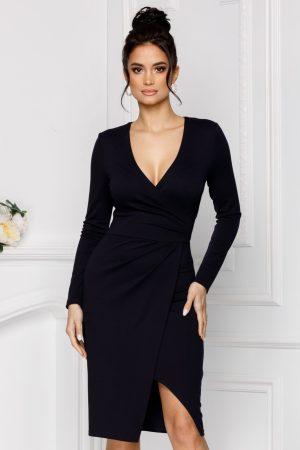Rochie eleganta petrecuta bleumarin cu maneci lungi si decolteu adanc in V