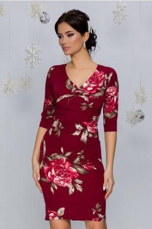 Rochie eleganta scurta conica bordo cu decolteu in V si imprimeu floral