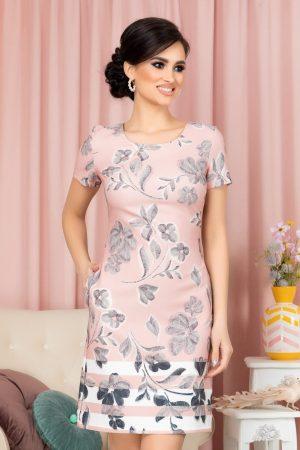 Rochie eleganta scurta cu imprimeu floral maneci scurte si decolteu rotund