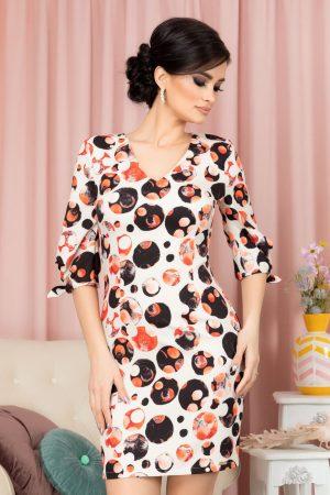 Rochie eleganta scurta cu imprimeu multicolor si maneci trei sferturi