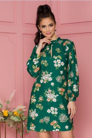 Rochie eleganta scurta lejera verde cu imprimeu floral si maneci lungi