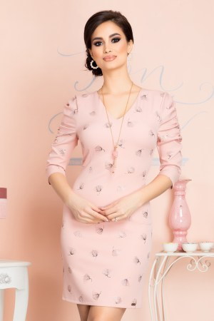 Rochie eleganta scurta roz prafuit cu imprimeu