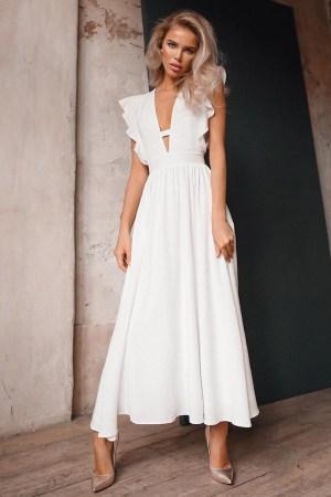 Rochie eleganta si rochie lunga de zi alba cu decolteu in V si volanase din barbie