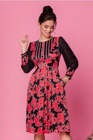 Rochie neagra cu imprimeuri florale rosii