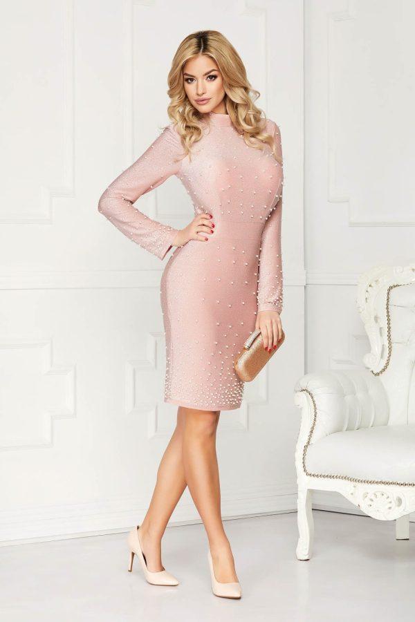 Rochie roz prafuit eleganta midi de ocazie tip creion din material elastic tip lurex
