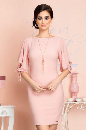 Rochie scurta eleganta roz prafuit cu volanase la umei