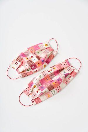 Masca de protectie pentru copii roz din bumbac subtire