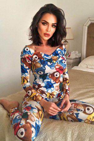 Pijama trendy cu imprimeu ursuleti multicolori