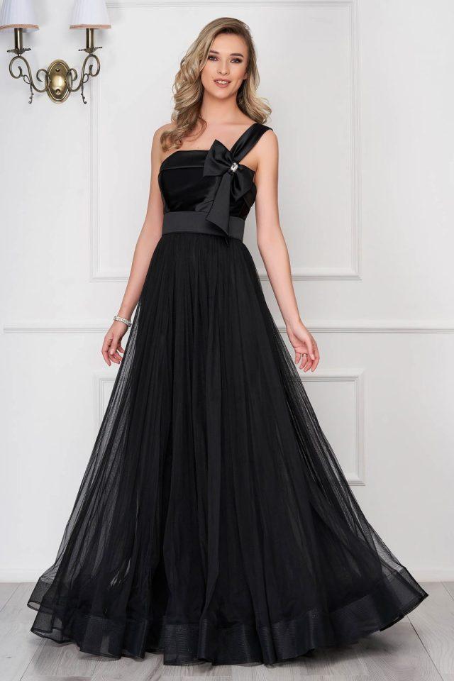 Rochie de ocazie neagra din voal cu accesoriu in forma de fundita
