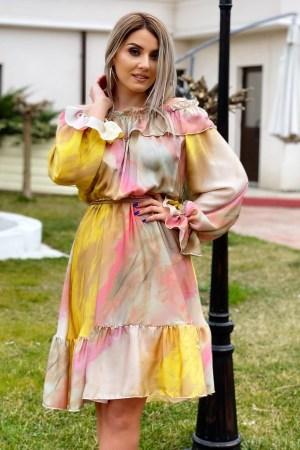 Rochie de zi cu volanase scurta multicolora cu maneci lungi
