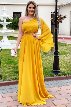 Rochie de zi eleganta galbena lunga cu o singura maneca in clopot