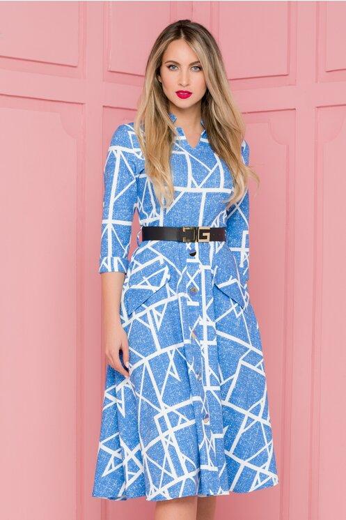 Rochie eleganta albastra cu imprimeu geometric alb si nasturi maxi la baza