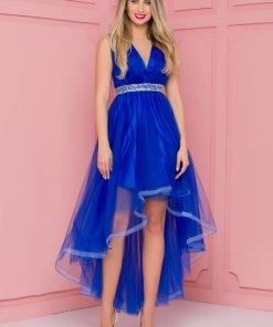 Rochie eleganta de ocazie albastra din tull cu pliuri la bust si cordon