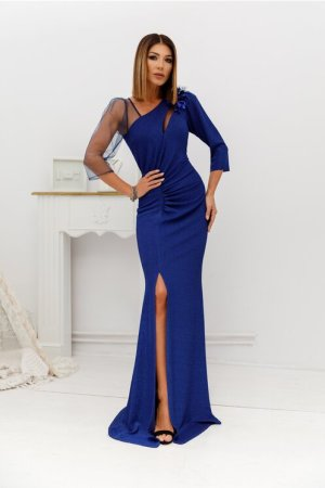 Rochie eleganta de ocazie albastra lunga din lurex cu flori 3D si tull