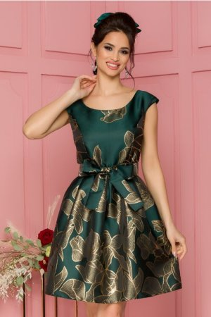 Rochie eleganta de ocazie midi verde in clos cu motive florale argintii