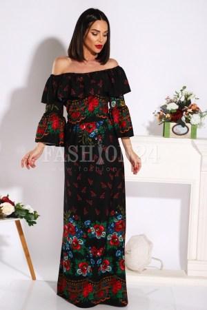 Rochie eleganta lunga cu motive traditionale