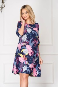Rochie eleganta midi albastra croi larg cu buzunare si imprimeu floral