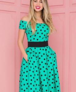 Rochie eleganta midi in clos verde imprimata cu buline negre si pliuri maxi