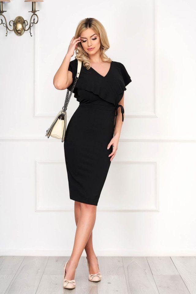Rochie eleganta midi neagra mulata din material elastic cu decolteu in v