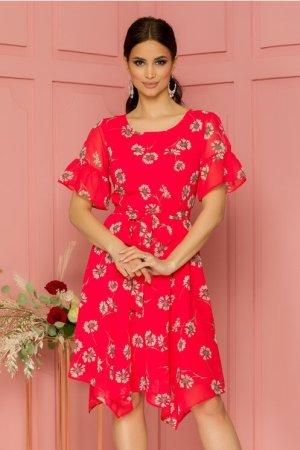 Rochie eleganta midi rosie in clos cu imprimeuri florale si decolteu rotund