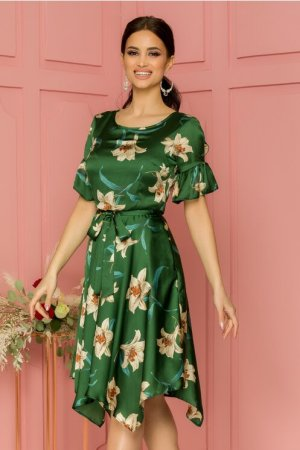 Rochie eleganta midi verde clos cu decolteu rotund si imprimeu floral bej