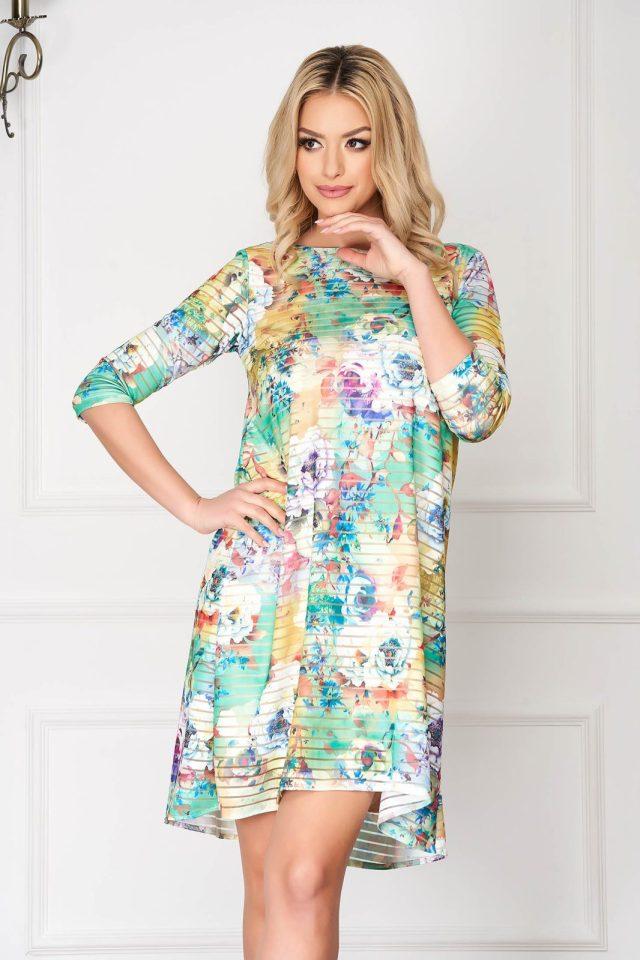 Rochie eleganta midi verde din lycra cu croi larg si imprimeu floral