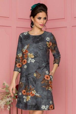 Rochie eleganta scurta gri cu imprimeu floral si decolteu rotund