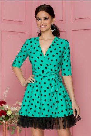 Rochie eleganta verde petrecuta cu buline negre imprimate si tull la baza
