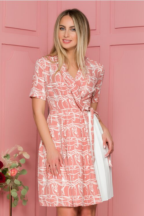 Rochie roz prafuit cu imprimeu abstract
