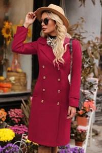 Palton dama rosu midi drept din stofa