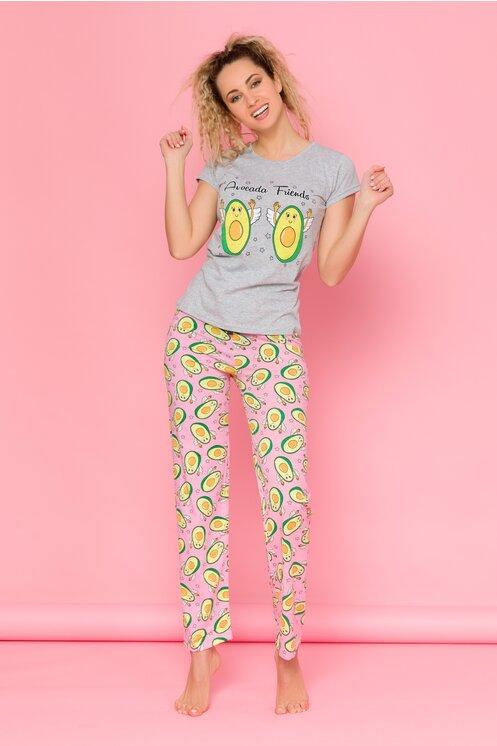 Pijama Avocado cu tricou gri si pantaloni roz