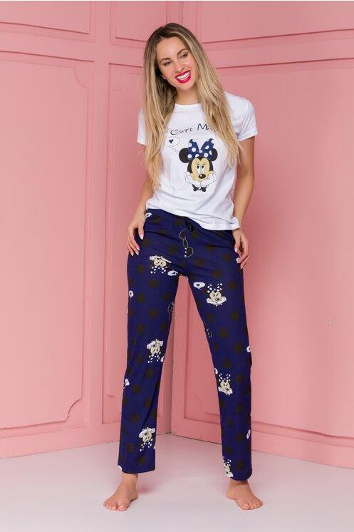 Pijama Cute Minnie cu pantaloni bleumarin