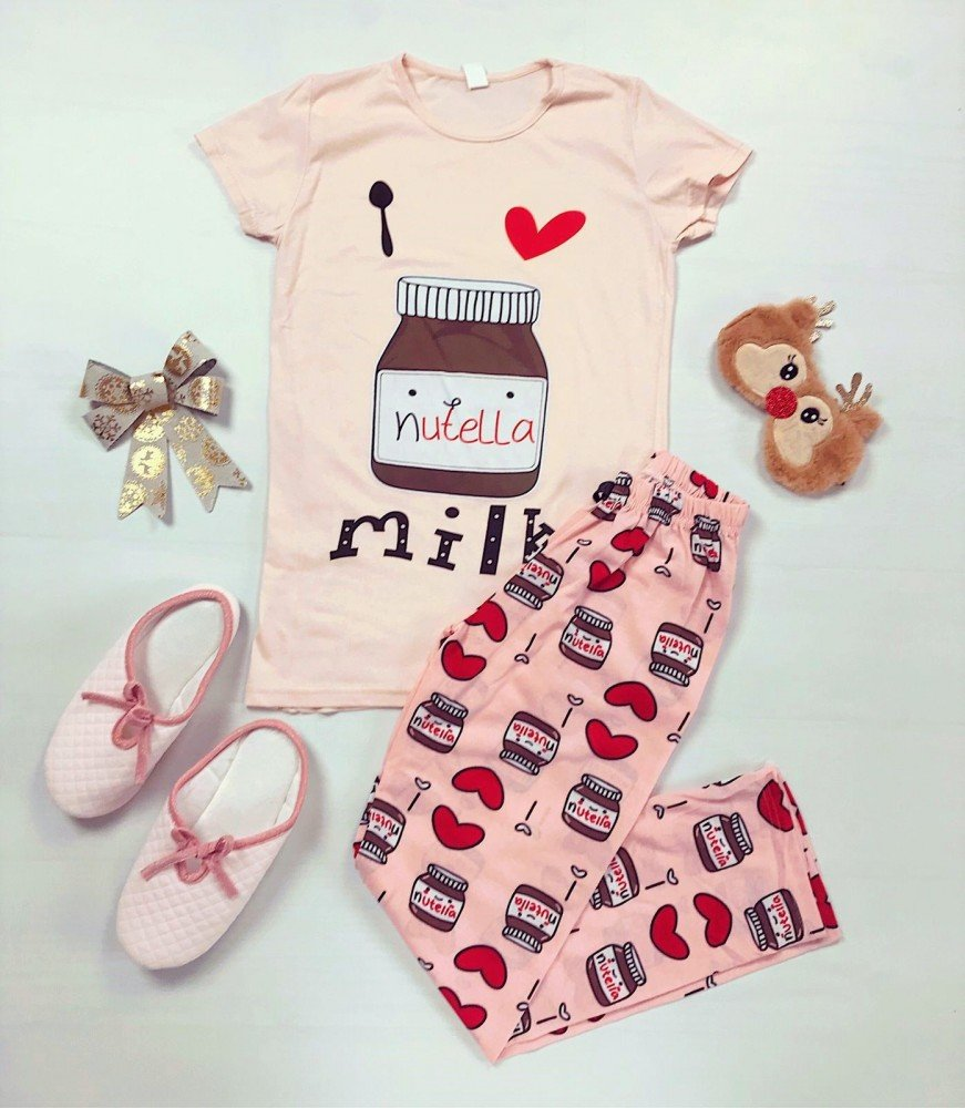 Pijama dama lunga roz cu imprimeu Nutella