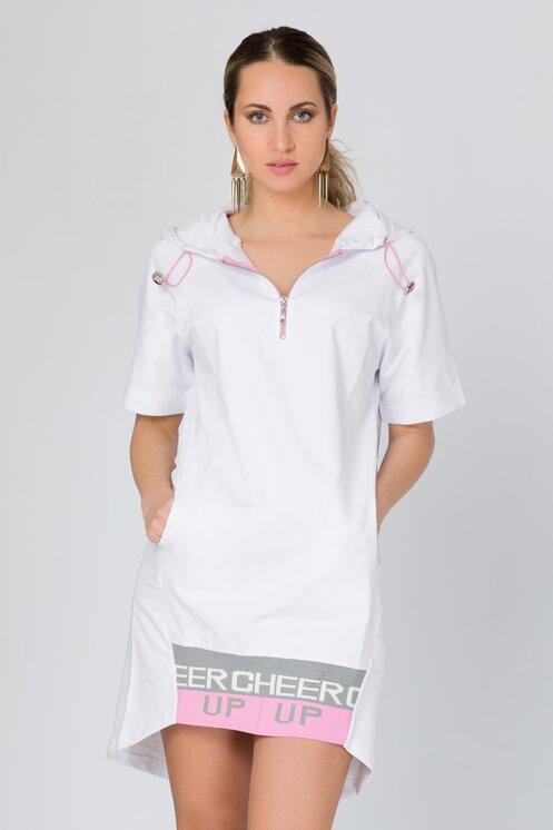 Rochie alba sport cu gluga si detalii roz