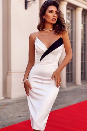 Rochie de seara eleganta si rochie de ocazie alb-negru din bumbac satinat