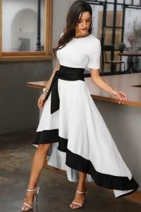 Rochie de seara eleganta si rochie de ocazie lunga alb-negru din barbie cu cordon