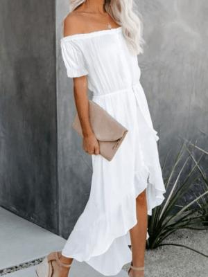 Rochie de zi lunga alba asimetrica