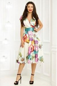 Rochie eleganta in clos alba cu imprimeu colorat