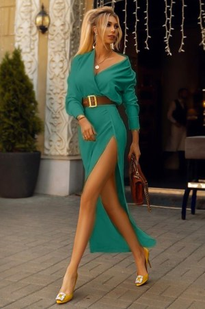 Rochie eleganta si rochie de zi lunga verde cu slit din barbie