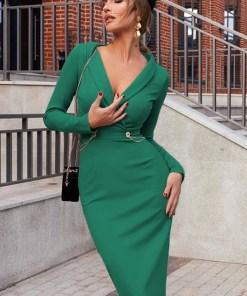 Rochie eleganta si rochie lunga de zi verde cu decolteu in V din crep