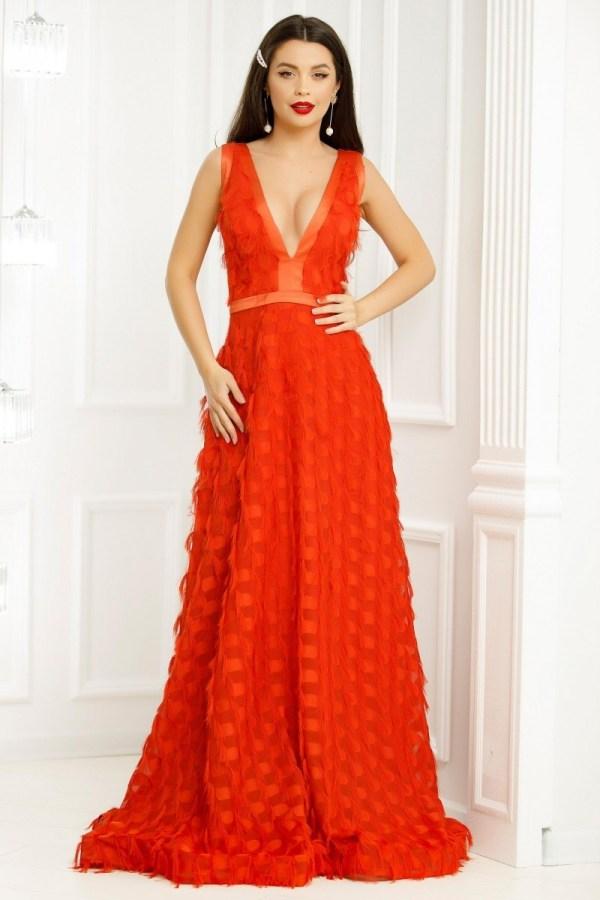 Rochie lunga portocalie decorata cu franjuri cu detalii din tafta