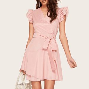 Rochie scurta de vara roz prafuit din material lucios