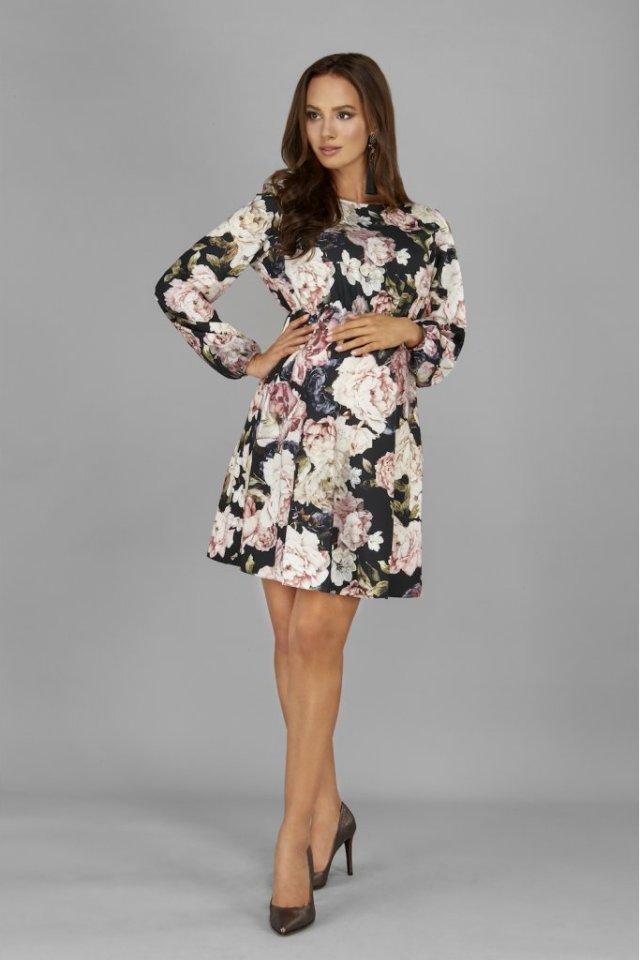 Rochie scurta eleganta cu imprimeu floral pentru gravide